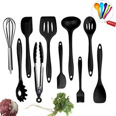 Silicone Kitchen Utensil Set Evantek 10 Piece Kitchen Tool Set Cooking Utensils Set NonStick Heat Resistant for Baking BBQ with Solid Core black ** Visit the image link more details. (This is an affiliate link and I receive a commission for the sales) #KitchenUtensils