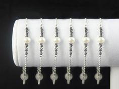 SET OF 6 - Black Rough Diamond Pearl Bracelets, Sterling Silver - Personalized Raw Diamond Jewelry - Bridesmaid Jewelry - Initial Bracelets, $290.00