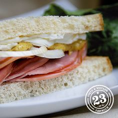 Check out the D&W Zesty #Ham & Cream Cheese #Fanwich. Create this at home with our Black Forest Ham, D&W Spicy Brown #Mustard, cream cheese, and sliced sweet #onion. Yum!