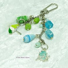 Handbag Charm with Enamelled Beach style charms, Green and Blue Purse Charm, Keychain Charms, Free UK Postage, C0012 by SeaWitchsCavern on Etsy