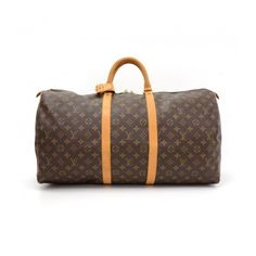 Pre-Owned Louis Vuitton Keepall 55 Monogram Canvas Duffle Travel Bag (€585) ❤ liked on Polyvore featuring bags, luggage and brown