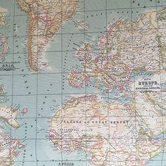 Map of the World Duckegg Oilcloth - Femme de Brocante