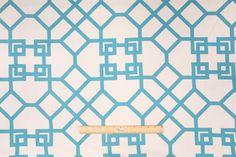9.5 Yards Designer Xu Garden Printed Linen Drapery Fabric in Akuatik