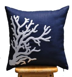 Coral Throw Pillow Cover, White Nautical Coral on Navy Blue Pillow, Embroidered Pillow, Pillow Accent,  Pillow Cover