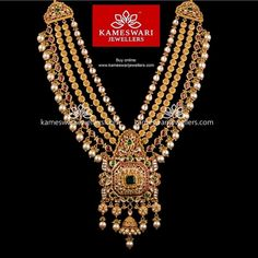 Traditional gold necklaces for women from the house of Kameswari. Shop for antique gold necklace, exquisite diamond necklace and more! Real Gold Jewelry, Gold Jewellery Design, Indian Jewelry, Designer Jewellery, Jewellery Shops, Diamond Jewellery, Simple Jewelry, Ethnic Jewelry, Designer Wear