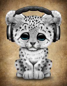 Cute Snow leopard Cub Dj Wearing Headphones | Jeff Bartels