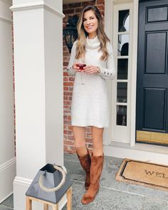 walmart time and tru cowl neck button sleeve sweater dress with tall brown boots Casual Winter Outfits, Stylish Outfits, Spring Outfits, Casual Boots, Affordable Clothes, Affordable Fashion, Tall Brown Boots, Thanksgiving Outfit, Cowl Neck