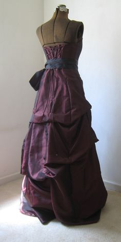 Iridescent Maroon Satin Princess Style Ball Gown w by theomerryart