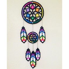 Dreamcatcher perler beads by perlernerdcrafts Perler Bead Templates, Pearler Bead Patterns, Diy Perler Beads, Perler Bead Art, Perler Patterns, Pearler Beads, Quilt Patterns, Pixel Art, Art Perle