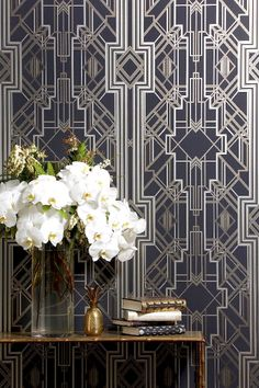 PATTERNS THAT POP: modern art deco style foyer #wallpaper and console table