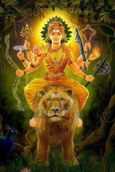 Lion lady: Durga . Mother Durga riding the lion symbolises her mastery over all these qualities.