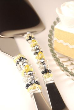 Yellow and grey wedding cake server and knife by TheVintageWedding