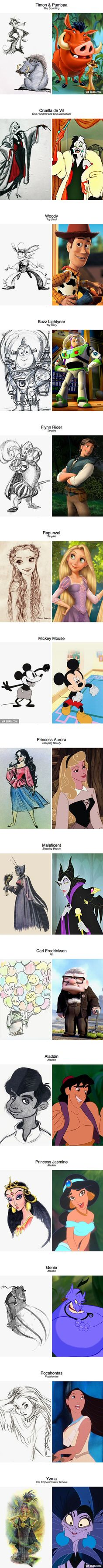 Original concept drawings of Disney characters - 9GAG