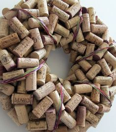 Braided Ribbon Wine Cork Wreath