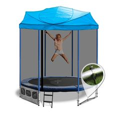 6ft Trampoline with Roof, Blue - Oz Trampolines