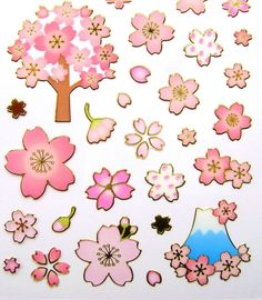 Beautiful Japanese Stickers  Cherry Blossoms And Mount Fuji S181