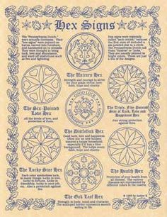 Hex Signs poster. Includes 7 Hexs and Definitions. Quote from poster Hex signs…