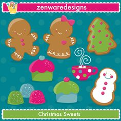 Who doesn't love sweets during the holiday season?! These would be great on a Christmas party invitation or embroidered on dish towels. I think I'm using them for place cards at the kiddie table for our annual Christmas party! :)    Formats:  EPS (editable with Illustrator, Corel Draw and Freehand), 300dpi transparent PNG files, and 300 dpi JPEG files.
