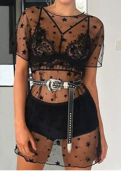 Festival Black Star Sheer Mesh vertuschen T-Shirt Kleid - Lupsona There is no other place than TexsT Music Festival Outfits, Festival Wear, Black Festival Outfit, Music Festival Fashion, Music Festivals, Concerts, Look Fashion, Fashion Outfits, Womens Fashion