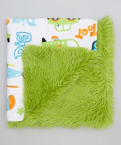Green Transportation Minky Blanket by My Adorable Place