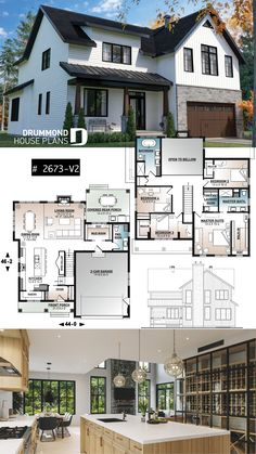 House Plans, Home Floor Plans, Garage Plans Sims House Plans, Family House Plans, New House Plans, Dream House Plans, House Floor Plans, Two Story House Plans, Sims House Design, Modern House Design, Sims 4 Modern House