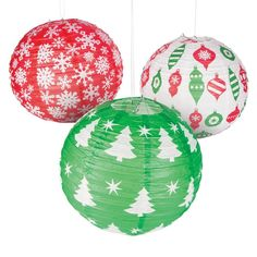 Christmas paper lanterns & hanging lanterns are the perfect way to add ambiance and light to any Christmas party. Choose from elegant to traditional paper lanterns at Oriental Trading.