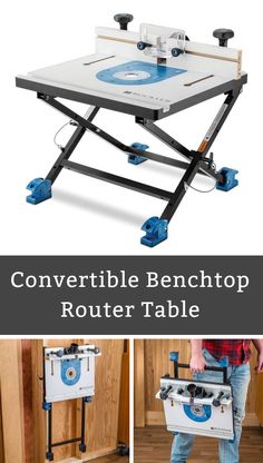 Rockler Convertible Benchtop Router Table - Quickly pull out the router for freehand use; base converts from benchtop to wall-mount mode – Choose table and baseplate package that fits your router! Diy Router, Router Lift, Concrete Wood, Wood Resin, Bench With Storage, Tool Storage, Benchtop Router Table, Router Plate, Tea Table Design