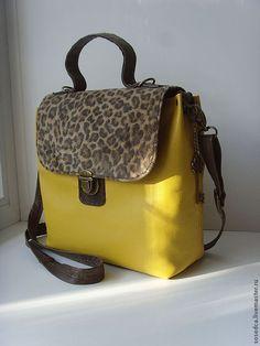 """Купить Сумка-портфельчик """"Леди"""" - желтый, звериная расцветка, сумка ручной работы"""