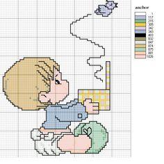 Baby with Bird Cross Stitch Pattern Cross Stitch Boards, Mini Cross Stitch, Cross Stitching, Cross Stitch Embroidery, Embroidery Patterns, Cross Stitch Designs, Cross Stitch Patterns, Fantasy Cross Stitch, Precious Moments