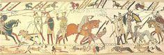 tapijt van bayeux (Tapisserie de Bayeux) Een fragment van het 70 meter lange Tapijt van Bayeux.  Het tapijt van Bayeux is een borduurwerk van 70 meter lang en 50 cm hoog, dat de geschiedenis uitbeeldt van de slag bij Hastings in 1066. Hierbij viel Willem de Veroveraar vanuit Normandië Engeland binnen en versloeg hij de Angelsaksische koning Harold. Het tapijt is vernoemd naar de stad Bayeux in Frankrijk en werd vermoedelijk vervaardigd in 1068.