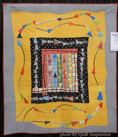 Modern Quilt Month 2015 (part Flying Kite Tails, 52 x by Joni Morgan. Photo by Quilt Inspiration. This quilt was begun in a Gwen Marston workshop. Mini Quilts, Baby Quilts, Modern Quilting Designs, Flying Geese Quilt, Geometric Quilt, Medallion Quilt, Quilt Border, Miniature Quilts, Contemporary Quilts