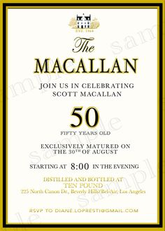 Custom Scotch Label Whiskey Macallan Black and Gold Scotch Party Printable DIY Adult Birthday Party by CutesyCustomDesigns, $13.00