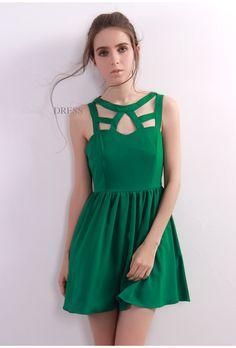 Starry Cut Out Detail Skater Dress Green#dress #sexy #fashion #party #women