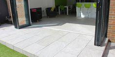 Inside / Outside | Contemporary Garden | Bi-fold doors | Kitchen | Modern Patio | Vitripiazza Nuvola Italian Vitrified Porcelain Paving | Landscaping | Patio