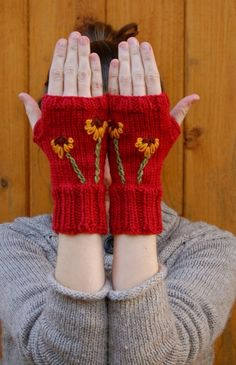 Knit gloves fingerless handmade in red wool with flower love these