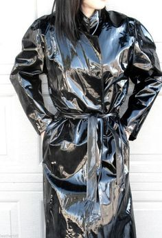 Shiny black Vinyl Raincoat
