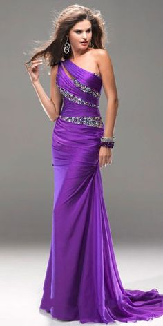 one shoulder purple prom dress