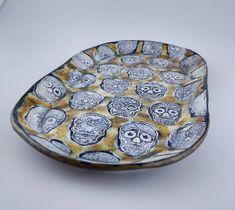 Calaveras Platter, a ceramic skull platter Sugar Skull Earrings, Daughter Love, Flower Earrings, Platter, Craft Supplies, Polymer Clay, Handmade Items, My Etsy Shop, Ceramics