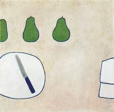 William Scott, Pears and Knife I, 1973, Oil on canvas, 63.5 × 63.5 cm / 25 × 25 in, Private collection