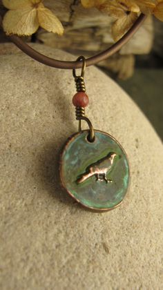 The Raven Wax Seal Charm Pendant, Copper and Verdigris patina, Cork Red Marble, Raven Jewelry, Irish Celtic Jewelry, Necklace by soulharborjewelry on Etsy