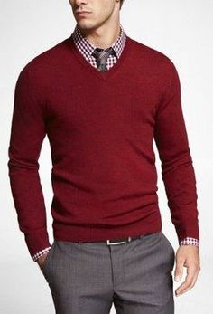A simple, thin v-neck sweater makes for a nice middle layer. Throw on a sport coat in colder months for an unbeatedly put-together and handsome getup.