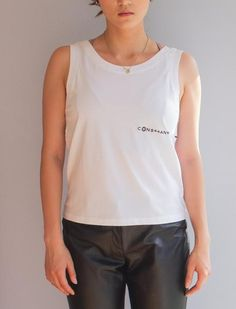 Updated sleeveless top with a modern twist. White Tank, Basic Tank Top, Tank Tops, Cotton, Essentials, Women, Products, Fashion, Halter Tops