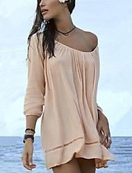 af092d3e03510 Women's Fashion Solid Cotton Hollow crochet Swimwer Bikini Beach Cover Up  Sun Prevention Mini Dress