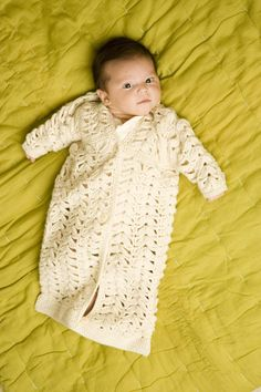 Lacy Baby Bunting LionBrand pattern.  perfect for a summer baby?