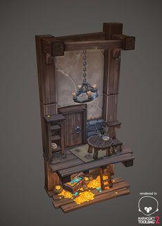 Hidden treasure diorama, Antonio Neves on ArtStation at… Bg Design, Prop Design, Game Design, Environment Concept Art, Environment Design, Hand Painted Textures, Game Props, 3d Prints, Visual Development