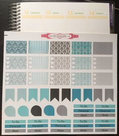 3 Page Set- Teal And Black Pattern Weekly Spread Stickers- Erin Condren Planner Stickers- Vertical Layout