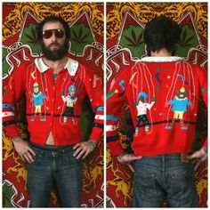 Kitschy Puppet Marionette Hand Knit Cardigan 80s Sweater. Rare Cute Multi Colored Novelty Sweater With All Over Print Puppet From The 80s by ElevatedWeirdo on Etsy https://www.etsy.com/listing/258408500/kitschy-puppet-marionette-hand-knit