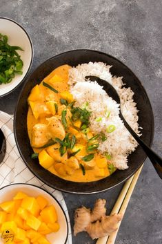 Mango Chicken Curry with Basmati Rice Mango Ch .- Mango Chicken Curry with Basmati Rice Mango Chicken Curry with Basmati Rice Mango Chicken Curry, Mango Curry, Healthy Chicken Recipes, Healthy Dinner Recipes, Healthy Lunches, Healthy Fats, Indian Food Recipes, Ethnic Recipes, Le Diner