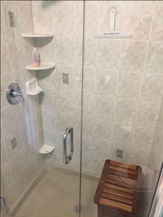 Genial New Shower Floor Covered By Miracle Method, Shelving Including Foot Rest  For Shaving And Teak Bench. Frameless Glass