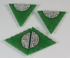 Art Deco Green Bakelite Dress Clips and Buckle Clear Crystals via Etsy